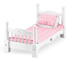 Melissa & Doug White Wooden Doll Bed With Bedding 24 x 12 x 11 inches