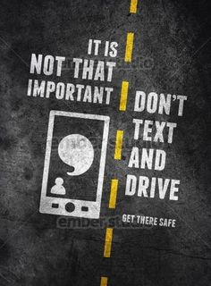 Texting and driving is super dangerous to yourself and others. Researchers have proved that the brain can't focus on 2 things at the same time and that is risking your own and someone else's life. It's just not worth it. Texting While Driving, Distracted Driving, Driving Safety, Driving School, Road Safety Poster, Safety Posters, Dont Text And Drive, Dont Drink And Drive, Safety Awareness