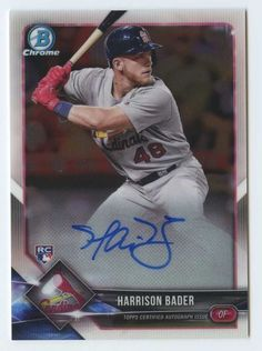 Harrison Bader 2018 Bowman chrome Cardinals RC rookie signed auto autograph St Louis Cardinals Baseball, Dodgers, Trading Cards, Chrome, Baseball Cards, Autos, Collector Cards