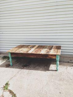 Reclaimed Barn wood coffee foyer sofa table. Turquoise jade green blue legs modern farm industrial on Etsy, $350.00