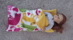 American Girl Fleece Sleeping Bag in Kitty pattern