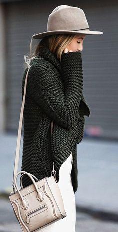 #thanksgiving #fashion · Grey Hat // Green Knit // Leather Shoulder Bag