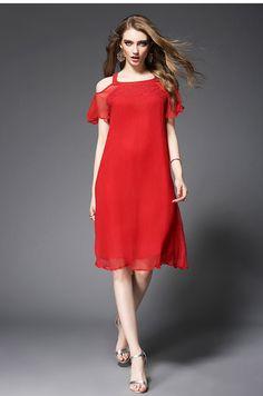 Nouveau Style D'été Femme Plage Robe Solide Couleur Crochet Fleur Creusent dehors Off-Épaule Soie Robe Rouge et Vert Élégante Robe OY60767 Prix :€ 67,05 / pièce