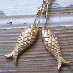 Fish Earrings - vintage gold Lucite Fish- by BlackStar
