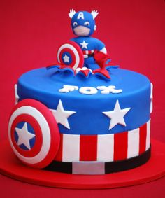 """Superheroes Cakes - 7"""" Captain America and Thor cakes for twin 5 year old boys. Vanilla cake with white chocolate and strawberry vanilla bean Swiss meringue buttercream. There were matching cookies too.  The figures were based on drawings by Hebdon Studios."""