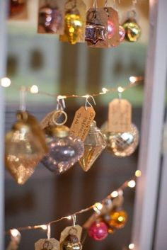 Hang a variety of cute little ornaments with a thank you tag to use as your party favors.