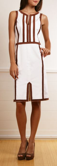 Oscar De La Renta Cream White Dress with Brown Trim