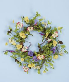 Loving this 20'' Pansy Wreath on #zulily! #zulilyfinds