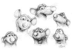 Draw Facial Expression Ratatouille - Remy - facial expressions - Traditonal Sketch by SarembaArt Tool: Pencils - Cartoon Sketches, Disney Sketches, Disney Drawings, Beauty And The Beast Silhouette, Animal Drawings, Art Drawings, Ratatouille Disney, Facial Expressions Drawing, Drawings Pinterest