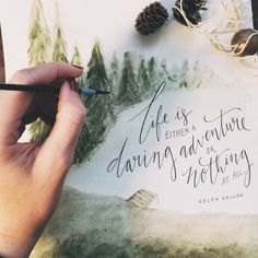 lettering watercolor trees pinecones warm colors More Watercolor Trees, Watercolour, Word Art, Beautiful Words, Artsy Fartsy, Letters, Drawings, Crafts, Adventure Holiday