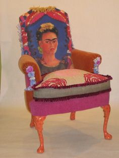 Frida Kahlo upholstered chair by tuffetlady34 on Etsy, $400.00