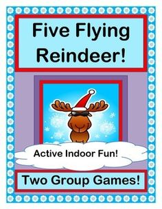 """Play TWO ACTIVE GROUP GAMES where """"reindeer really know how to fly!""""  Have fun with """"FIVE LITTLE REINDEER ON THE ROOF OF MY HOUSE!"""" and """"FIVE FLYING REINDEER!""""  Great Rhymes, fun Rhythm, and a funny Song-- no music skills required!  (6 pages)  From Joyful Noises Express TpT!  $"""