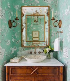 Vintage mirrors are a wonderful way to add light and space to a room. Mint floral wallpaper and old vintage cabinet used as a sink Home Design, Interior Design, Powder Room Design, Vintage Mirrors, May Designs, Chinoiserie Chic, Light And Space, Room Planning, Bathroom Inspiration