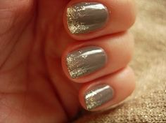 After a base coat and two coats of color, practically clean the polish off of the brush for the glittered nail polish (use a color that has a clear base).  Paint jagged vertical lines starting at the tip, back towards the middle of the nail to get the look.  If you go across the tip like a regular french it doesn't look as nice.