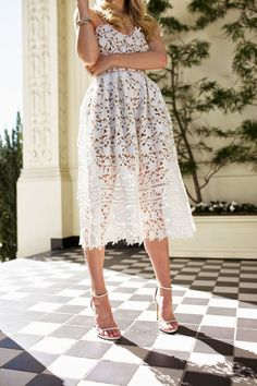 This white lace dress and simple ankle strap heels are so pretty