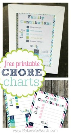 Free printable Chore Charts by My Love for Words