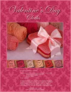 Valentine's Day Cloths pattern by Kris Knits Knitting Squares, Dishcloth Knitting Patterns, Knit Dishcloth, Crochet Patterns, Crochet Stitches, Valentines Surprise, Valentine Day Crafts, Knitting Projects, Crochet Projects