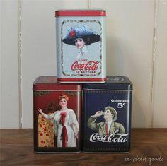 Retro Coca Cola Storage Tins Tea Coffee Sugar Canisters Vintage Jars Kitchen Box