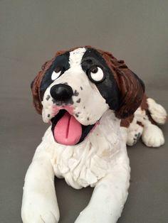 Saint Bernard dog figurine by HoundsofHope on Etsy