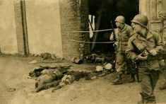Old photos of Gardelegen Massacre 13 April 1945 - contributed by Ethel B. Stark American soldiers at the scene of the Gardelegen massacre