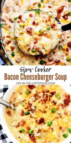 Bacon Cheeseburger Soup, Bacon Soup, Cheese Burger Soup Crockpot, Slow Cooker Bacon, Slow Cooker Soup, Ground Beef Slow Cooker, Slow Cooker Hamburger Recipes, Healthy Slow Cooker, Easy Soup Recipes