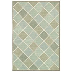Anchor your living room seating group or add a pop of pattern to your patio with this lovely rug, showcasing a geometric print in tones of aqua, ivory, sand, and teal.