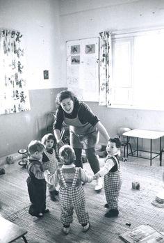 Toddlers in Kibbutz Merom Golan on the Golan Heights, Israel; 1970.