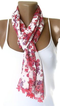 summer fashionfloral chiffon scarfgift scarffor by seno on Etsy, $15.00