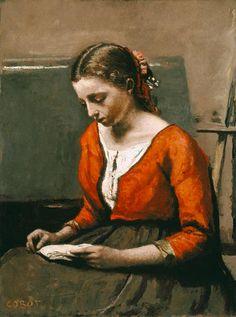 Jean-Baptiste-Camille Corot - Joven leyendo