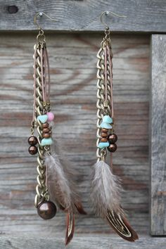 Beaded Feather Earrings : Multi-Layered Bohemian Feather Earrings with Amazonite Chips, Antique Bronze Chain, Glass and Wooden Beads.
