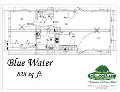 The Blue Water: a modular home with an open living room and a full kitchen with large windows to naturally illuminate the home. Built by Portable Buildings of Brenham. Tiny House Cabin, Cozy House, Metal Building Homes, Building A House, Pole Barn Designs, Small House Floor Plans, Shed Homes, Barn Homes, Floor Plan Layout