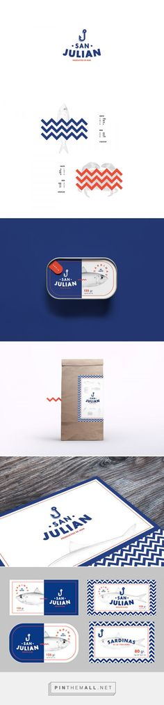 Awesome branding, they totally nailed the retro maritime feel. San Julian on Behance by Pablo Martínez Díaz. Buenos Aires, Argentina curated by… Brand Identity Design, Graphic Design Branding, Corporate Design, Logo Design, Corporate Identity, Branding And Packaging, Food Branding, Packaging Design, Branding Agency
