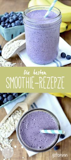 Skip the muffin and drink a healthy gluten-free Blueberry Muffin Smoothie that tastes like one instead!Skip the muffin and drink a healthy gluten-free Blueberry Muffin Smoothie that tastes like one instead! Yummy Smoothies, Smoothie Drinks, Yummy Drinks, Healthy Drinks, Healthy Snacks, Yummy Food, Stay Healthy, Healthy Eating, Clean Eating