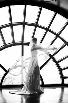 Wedding photo of bride in black and white