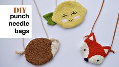 Kids Punch, Bag Patches, Fox Bag, Punch Needle Patterns, Rug Hooking Patterns, Penny Rugs, Punch Art, Kids Bags, Textiles