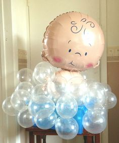 Baby Boy in Bath  Blue Bubbles Balloons: