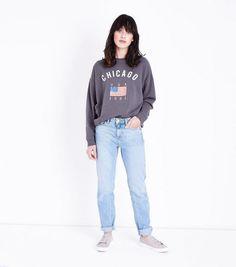 Dark Grey Chicago Slogan Sweatshirt | New Look