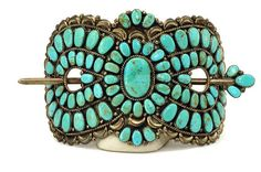 On hold for salina (salthecollector) Native American Petit Point Turquoise & Silver Large Hair Barrette