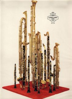 theclarinetcorner:  An old Leblanc promo photo that includes the most complete family of clarinets ever built. The two tallest are an octocontralto and an octocontrabass, which were only built as prototypes. They are the lowest reed intruments ever made.