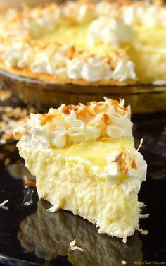 Coconut Cream Pie - so good, creamy, with just enough coconut flavor without being overwhelming, and did I mention the perfectly whipped cream on top with a dash of coconut? Coconut Desserts, Coconut Recipes, Just Desserts, Delicious Desserts, Yummy Food, Vegan Desserts, Vegan Recipes, Plated Desserts, Pie Dessert