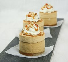Caramel Mousse and Dulce de Leche Cheesecake Mini Cakes