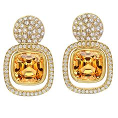Striking Pair Of Imperial Topaz Diamond Gold Earrings  | From a unique collection of vintage drop earrings at…