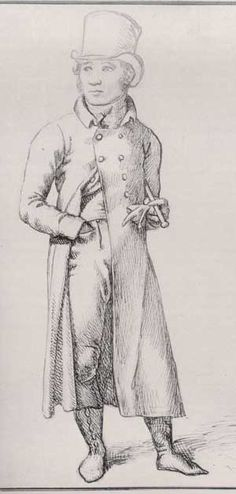 A gentleman, c. 1809, wearing a great coat, with his hand shoved into the pocket of his pantaloons.