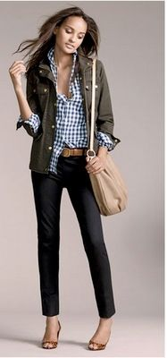 Outfit Posts: outfit post: military jacket, blue plaid shirt, black cropped pants