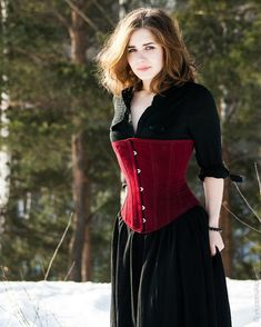 Classic victorian underbust fake suede corset black by Corsettery