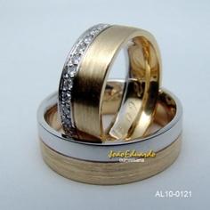 Aliança de casamento fosca filete em ouro branco AL10-0121