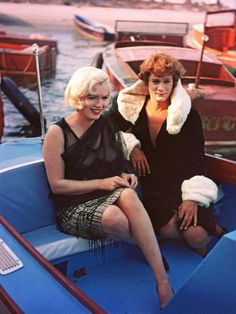 "Marilyn Monroe with Tony Curtis on the set of ""Some Like It Hot"""