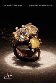 anelli: oro rosso - oro bianco - diamante taglio brillante - diamanti grezzi   PILGIO'