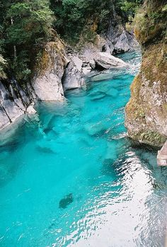 Blue Pools, Haast Pass, New Zealand.  Yes it really does look like this!