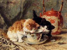 Henriette Ronner-Knip - Tea Time ...kittens like tea, too!